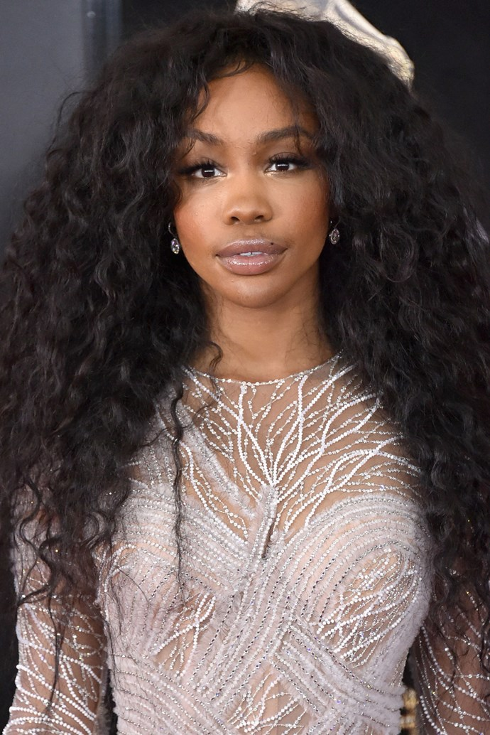**SZA** <br><br> SZA makes yet another strong case for wearing natural curls on the red carpet. All that was needed to top off her look was an illuminated eye and glossy lip.