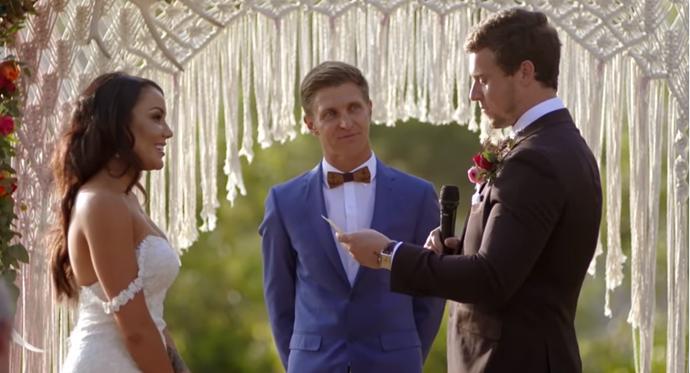 Ryan says his vows to Davina.