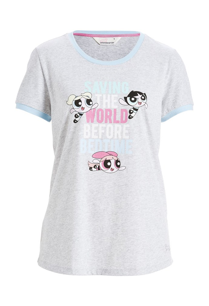 "Powerpuff Girls Save The World Short Sleeve Tee, $50 at [Peter Alexander](https://www.peteralexander.com.au/shop/en/peteralexander/powerpuff-girls-save-the-world-short-sleeve-tee?cm_vc=PDPFP1|target=""_blank""