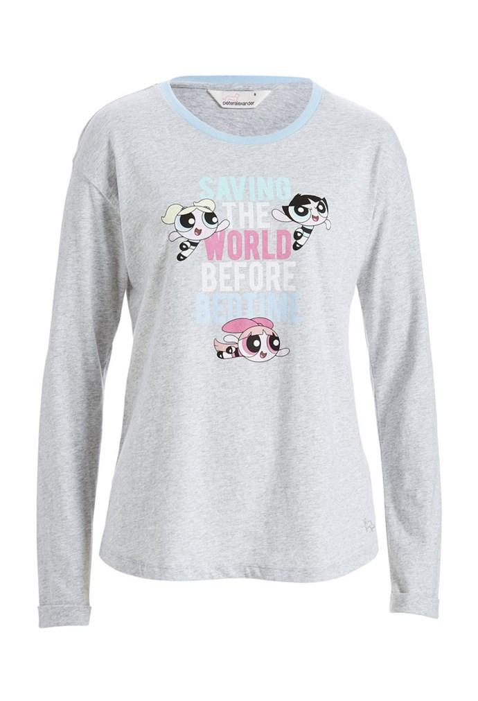"Powerpuff Girls Save The World Long Sleeve Tee, $50 at [Peter Alexander](https://www.peteralexander.com.au/shop/en/peteralexander/powerpuff-girls-save-the-world-long-sleeve-tee?cm_vc=PDPFP1|target=""_blank""