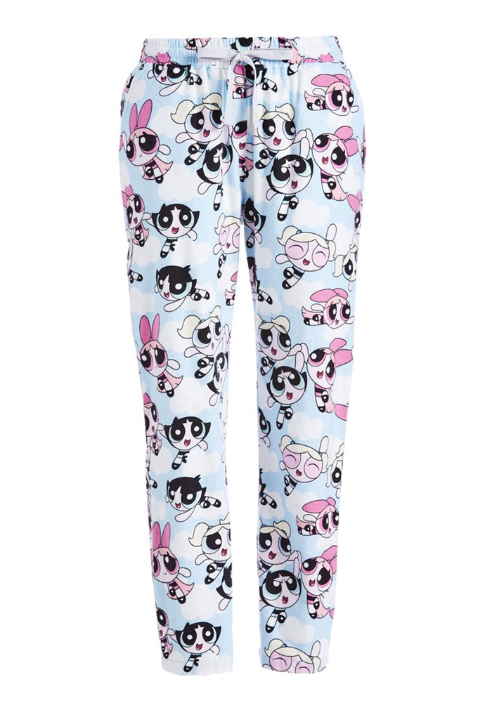 "Powerpuff Girls Tapered Flannelette Pant, $80 at [Peter Alexander](https://www.peteralexander.com.au/shop/en/peteralexander/powerpuff-girls-tapered-flannelette-pj-pant?cm_vc=PDPFP1|target=""_blank""