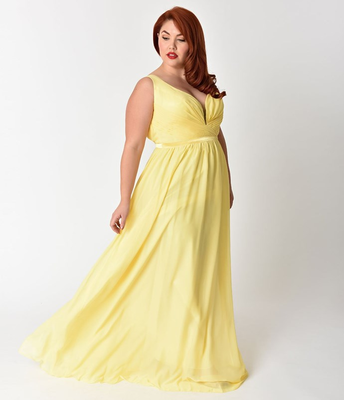 "**Belle** <br><br> Dress, $150 (approx.) at [Unique Vintage](http://fave.co/2sJoWn0|target=""_blank""|rel=""nofollow"")"
