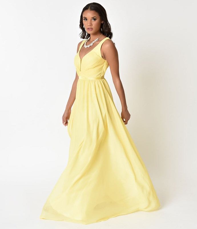 """**Belle** <br><br> Dress, $150 (approx.) at [Unique Vintage](http://fave.co/2F0MMzG