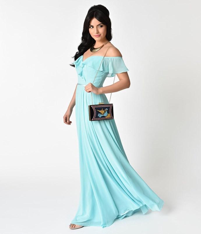 "**Jasmine** <br><br> Dress, $122 (approx.) at [Unique Vintage](http://fave.co/2sMPYtJ|target=""_blank""|rel=""nofollow"")"