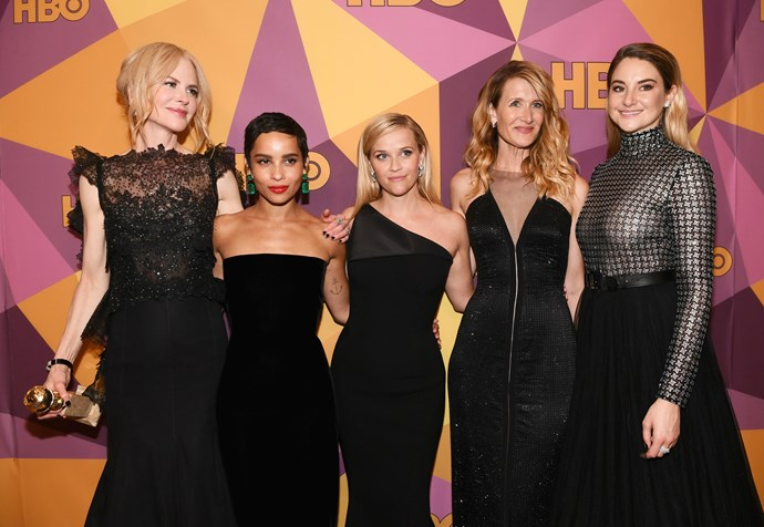 Whole cast of women from Big Little Lies, Laura Dern, Nicole Kidman, Zoe Kravitz, Reese Witherspoon and Shailene Woodley all wore black to support #TimesUp at the Golden Globes.