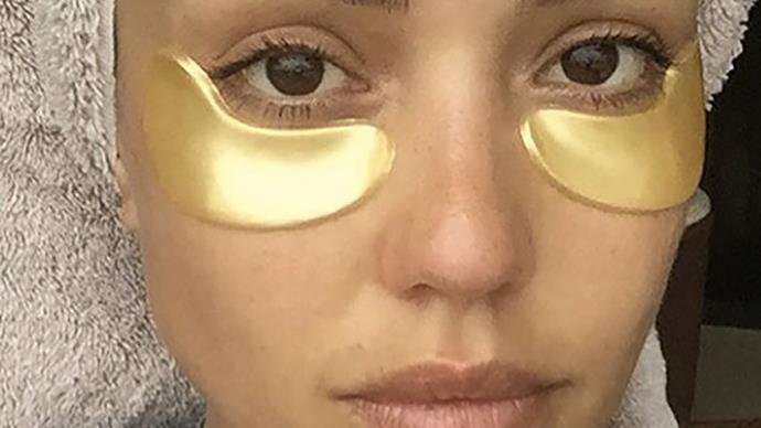 jess alba gold eye mask