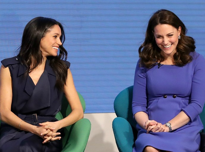 Look at Meghan Markle and Duchess Kate acting like sisters at their first official joint appearance!