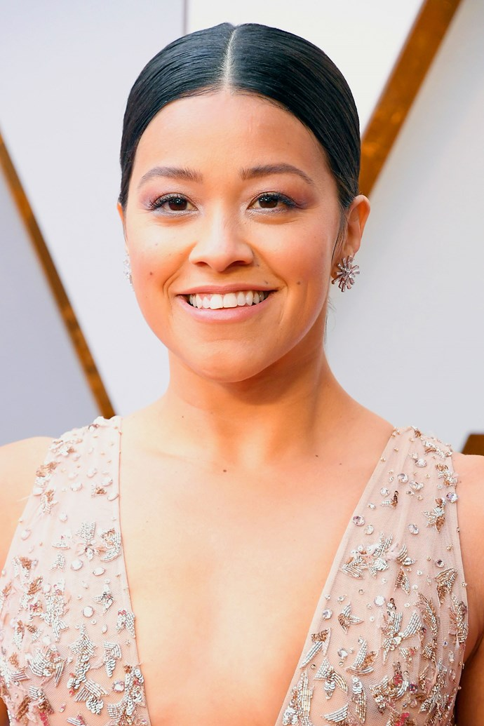 **Gina Rodriguez** <br><br> The *Jane the Virgin* actress wasn't just channeling 'pretty in pink' through her outfit. We are loving the dusty rose lid, blushed cheeks and slight pink tint on her lips.