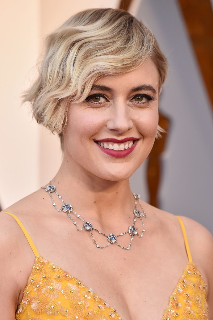 **Greta Gerwig** The actress, director, and Oscar nominee stepped out in one of our favourite beauty looks this year, channeling french beauty with her thick winged eye, finger-waved short 'do and deep pink lip.