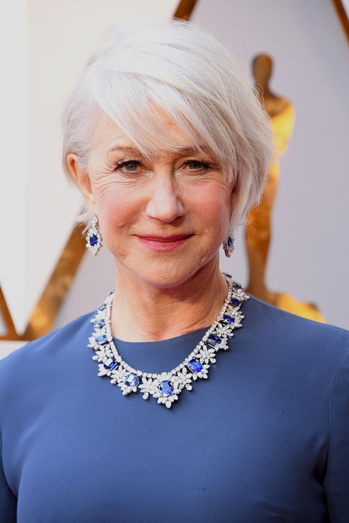 **Helen Mirren** <br><br> The actress, that continues to defies age, kept her beauty look to her token tousled silver 'do, a lightly lined eye and a nude lip.