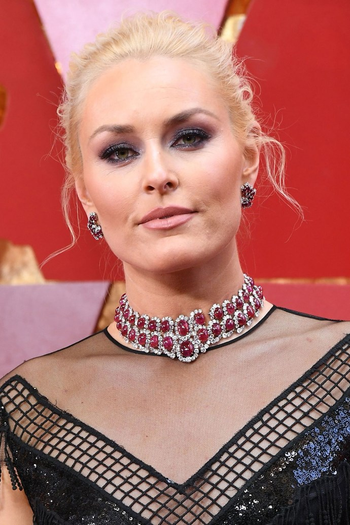 **Lindsey Vonn** <br><br> The US skiier rocked the purple tones hard in her beauty look, pairing a lavender smoky eye with her period blonde 'do.