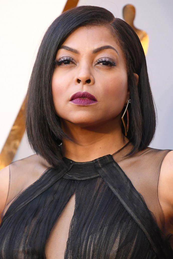 **Taraji P. Henson** <br><br> The actress does has her fierce red carpet game down pat, rocking a wine stained lips and tonal eyeshadow to match.
