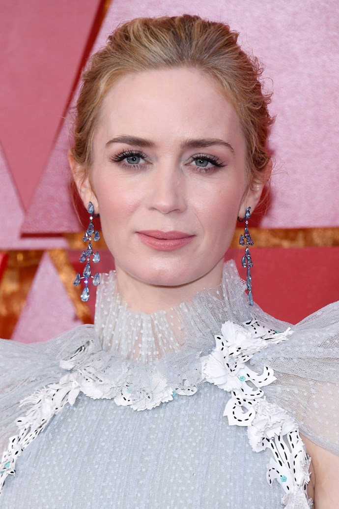 **Emily Blunt** <br><br> If anyone could pull off a two-toned light blue and pink lid, and rose pink lips, it's Emily Blunt.