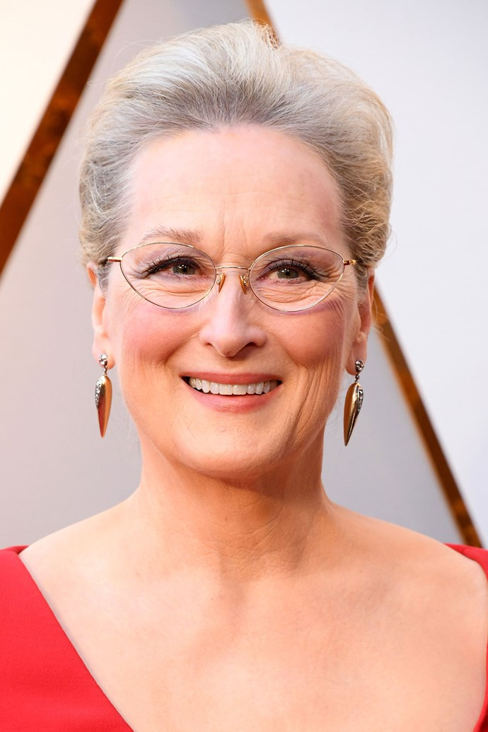 **Meryl Streep** <br><br> The Oscars fixture kept her look quite understated with a subtly lined eye, blushed cheeks and and a nude lip.