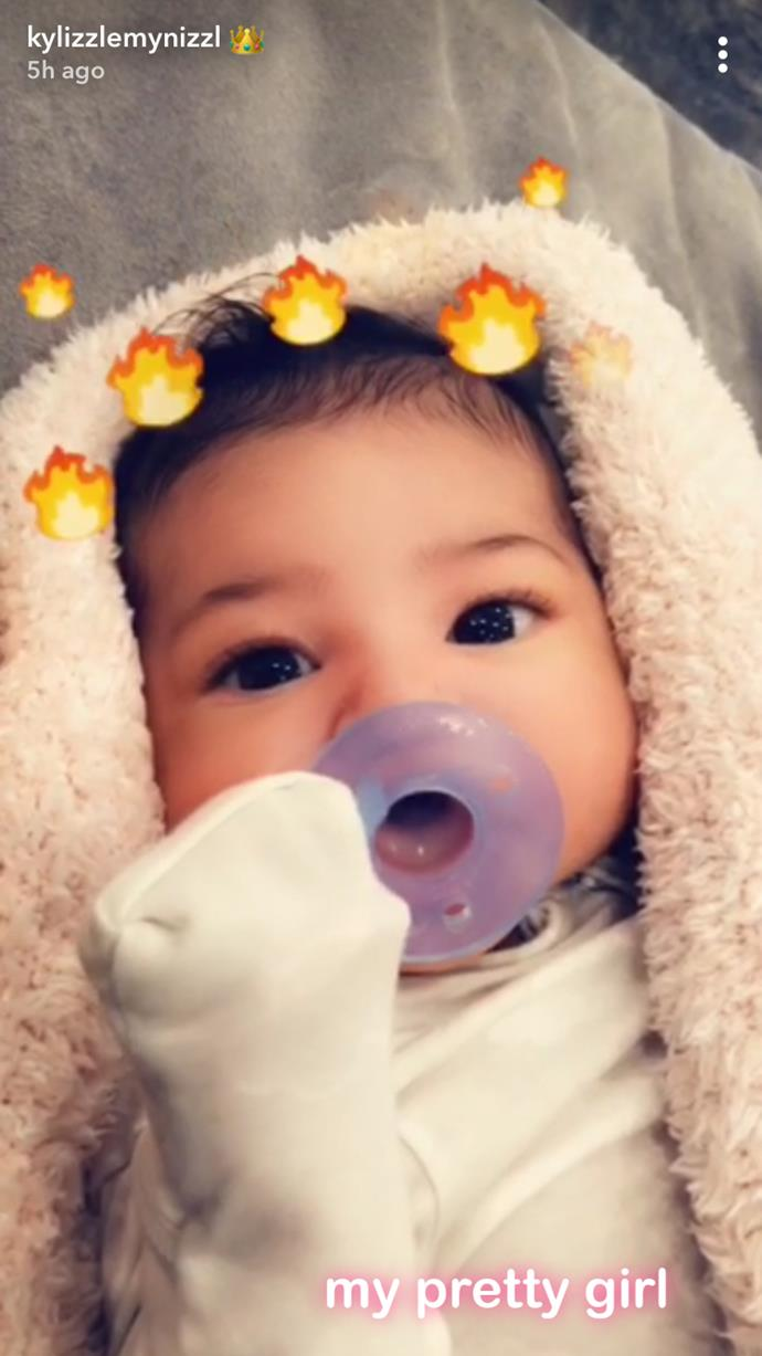 Stormi Webster was showcased, with flame filters and all, on Snapchat.