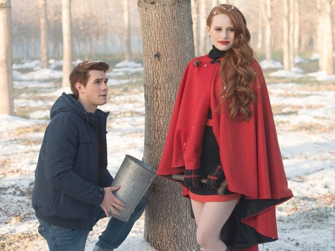 Cheryl Blossom looking as fire as ever in this scarlet red cape get-up.