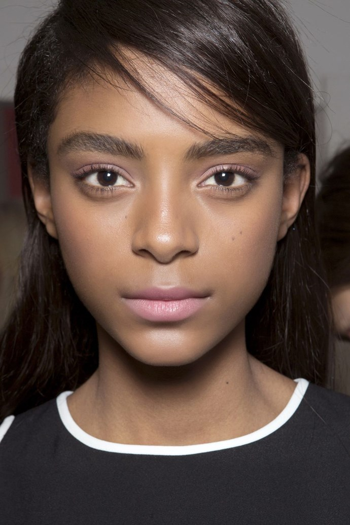 """**A hint of pink** <br><br> Nothing says youthful quite like a [sweeping of pale pink](https://www.elle.com.au/beauty/triple-pink-runway-beauty-trend-vamff-15935