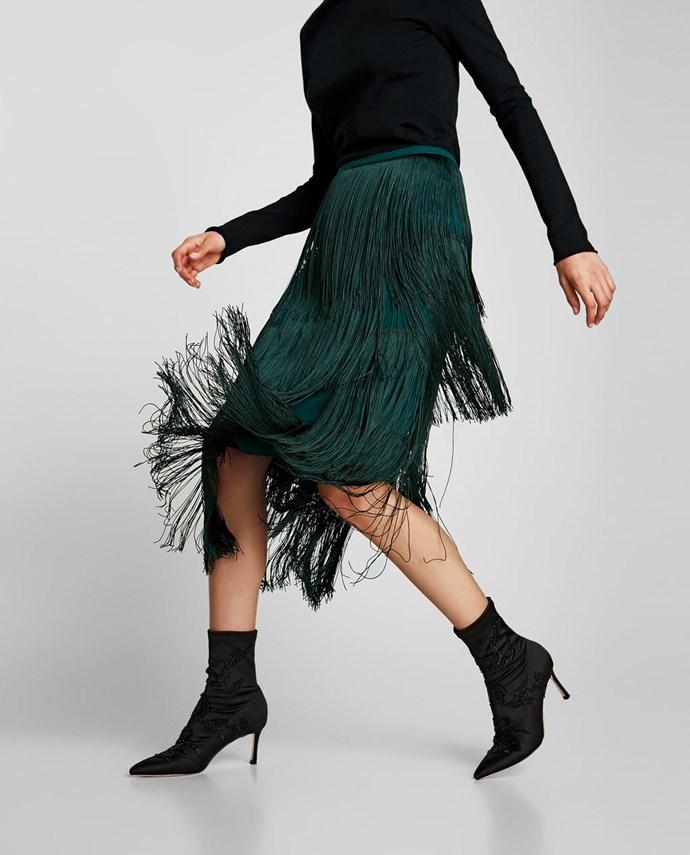 "Embroidered Satin High Heel Ankle Boots, $159 from [Zara Australia](https://www.zara.com/au/en/embroidered-satin-high-heel-ankle-boots-p12114301.html?v1=5905594&v2=1010574 target=""_blank"")."