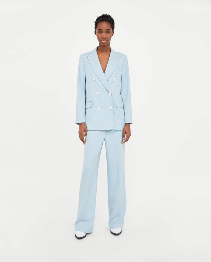 """Straight Cut Trousers, $99 from [Zara Australia](https://www.zara.com/au/en/straight-cut-trousers-p07357682.html?v1=5860546&v2=1010574 target=""""_blank"""")."""