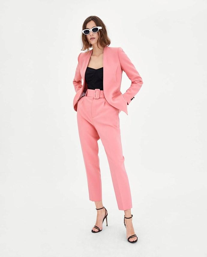 "Trousers With Belt, $69.95 from [Zara Australia](https://www.zara.com/au/en/trousers-with-belt-p07168045.html?v1=5664161&v2=1010574 target=""_blank"")."