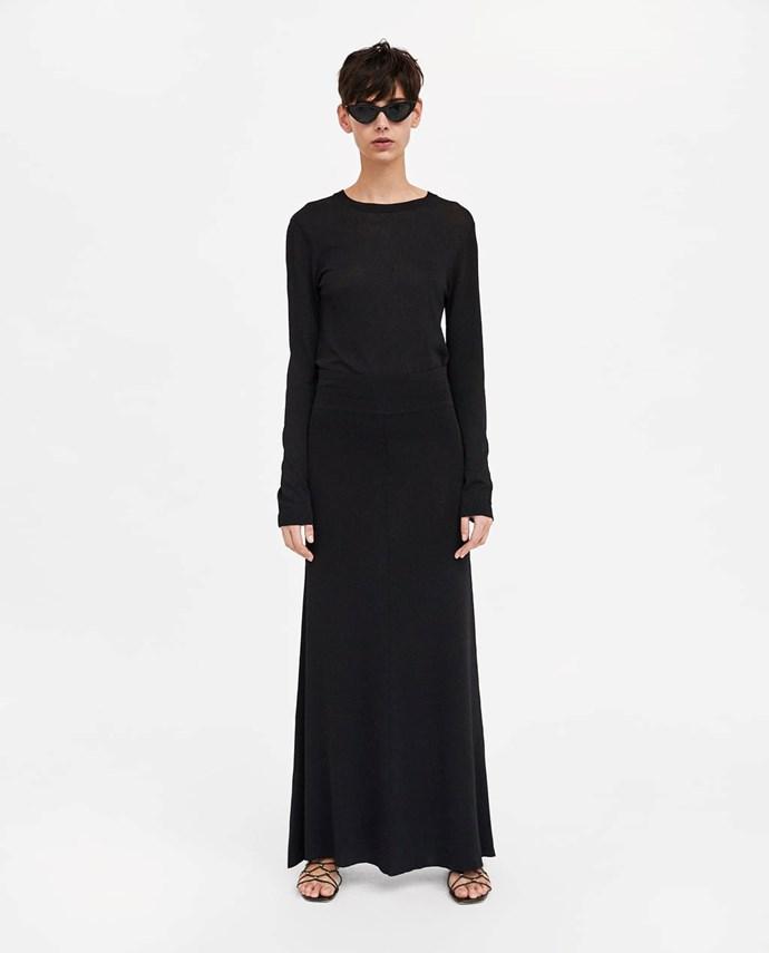 """Minimal Collection Long Skirt, $69.95 from [Zara Australia](https://www.zara.com/au/en/minimal-collection-long-skirt-p00014003.html?v1=6032164&v2=1010574 target=""""_blank"""")."""