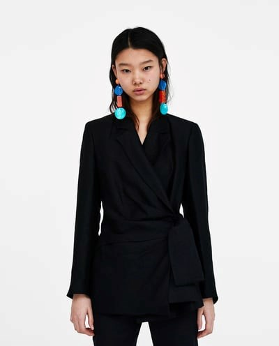 """Blazer With Draped Bow, $139 from [Zara Australia](https://www.zara.com/au/en/blazer-with-draped-bow-p07324144.html?v1=5817590&v2=1010574 target=""""_blank""""). (Now only available in a handful of sizes.)"""