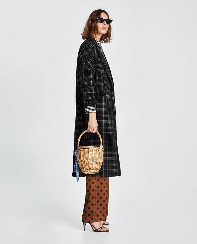 "Long Check Coat, $259 from [Zara Australia](https://www.zara.com/au/en/long-check-coat-p02140618.html?v1=5862554&v2=1010031 target=""_blank""). (Now only available in a handful of sizes.)"