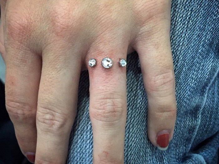 Trend: Would you get a diamond pierced into your finger instead of an engagement ring?