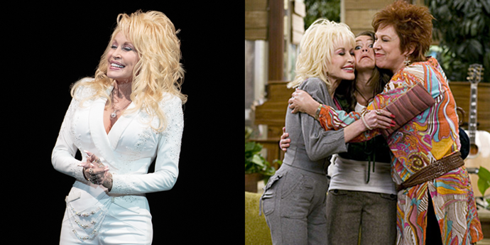 **Dolly Parton** <br><br> Who could forget Aunt Dolly, Hannah Montana's effervescent aunt? Not me, but in case you did, here's a reminder the iconic Dolly Parton appeared in three episodes of her real-life goddaughter's Disney show.