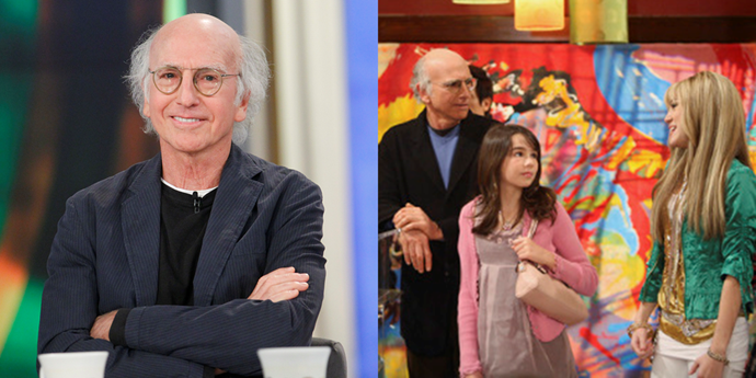 **Larry David** <br><br> Here's a weird one: *Seinfeld* and *Curb Your Enthusiasm* mastermind Larry David appeared on an episode of *Hannah Montana* with his daughter Romy. If you're a David fan, the clip is a must-watch, because despite the fact that he's on a children's TV show he tones down his typical misanthropy by exactly zero percent.