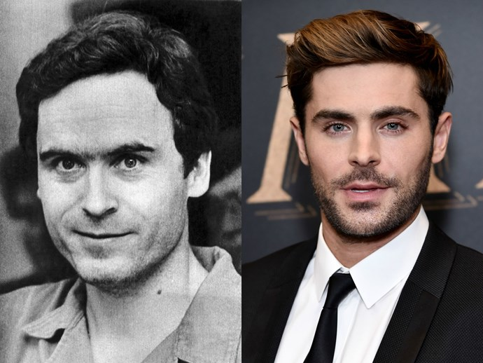 Zac Efron and the real Ted Bundy.