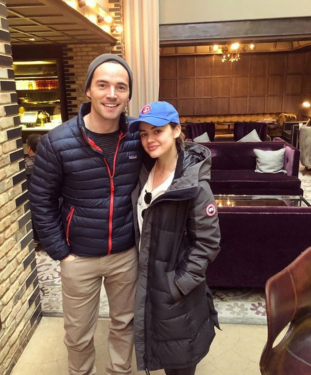 **Pretty Little Liars**<br> Lucy Hale (Aria Montgomery) reunited with her *Pretty Little Liars* husband Ian Harding (Ezra Fitz) while out and about in Chicago, both wearing matching jackets 'cos nostalgic couple goals are REAL.