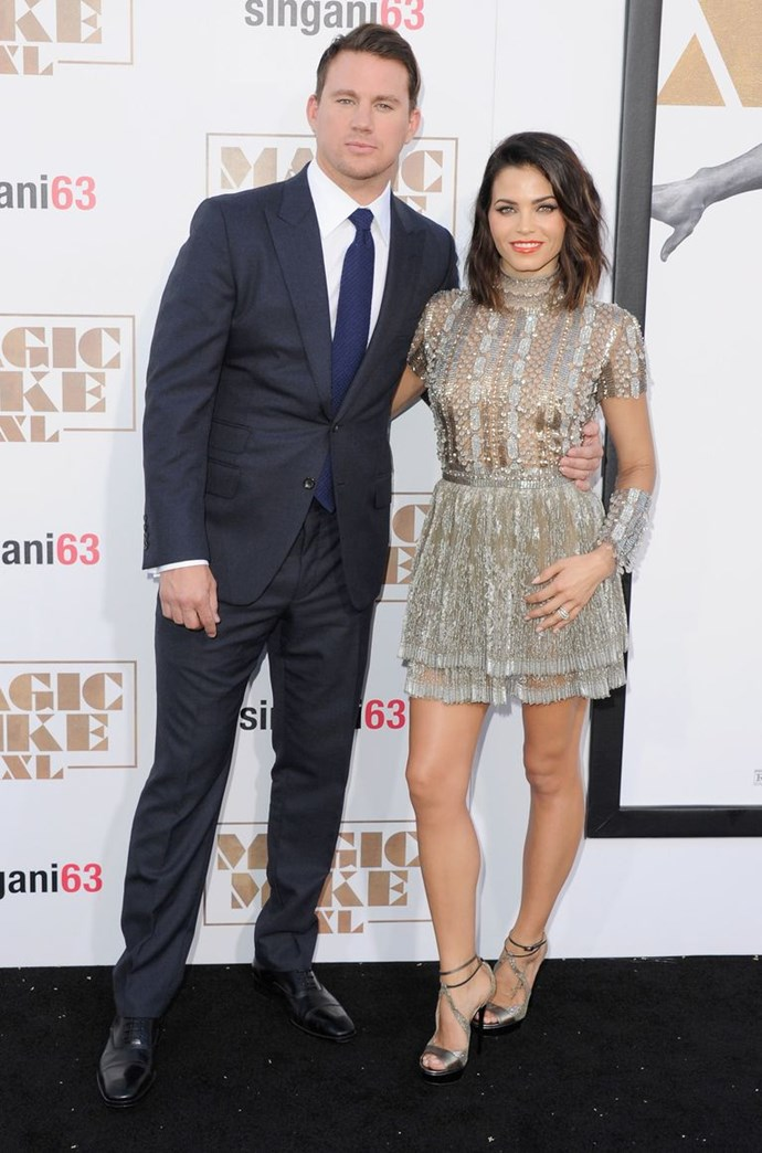 Channing and Jenna arrive at the June 2015 premiere of *Magic Mike XXL* in Hollywood, California