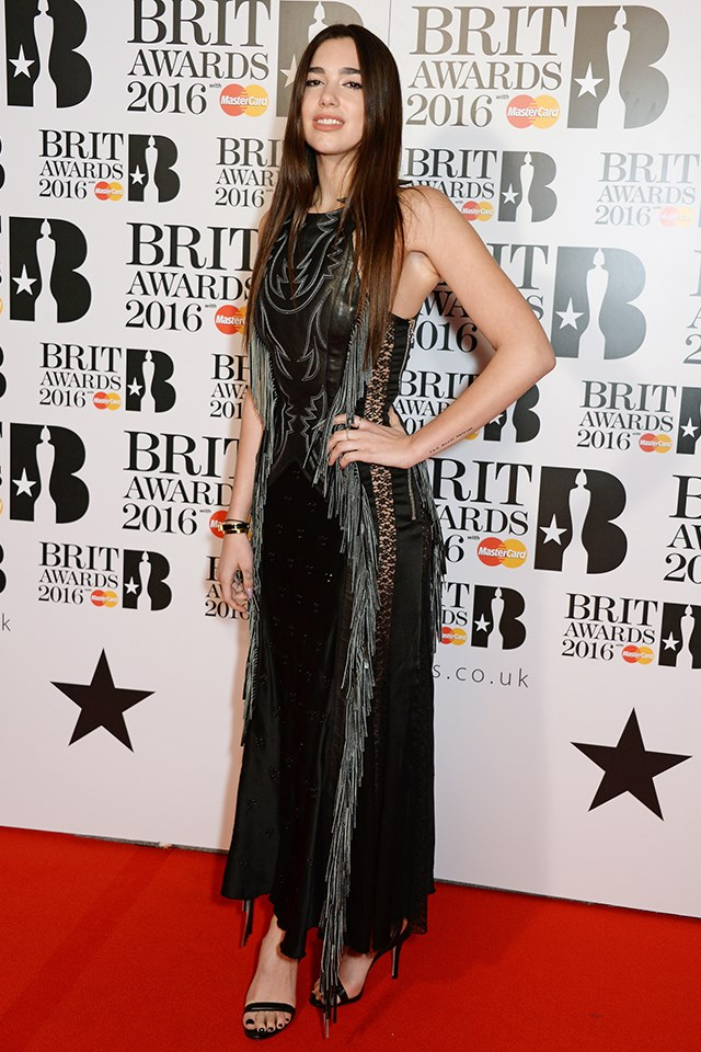 Dua Lipa at the Brit Awards in February 2016.