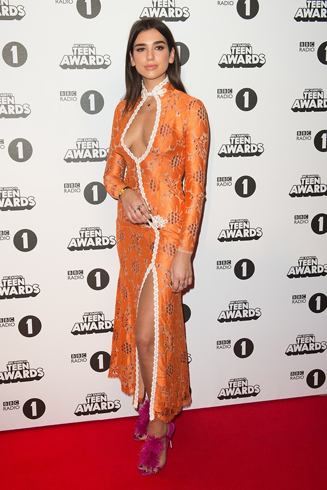 Dua Lipa at BBC Radio 1's Teen Awards in October 2016.