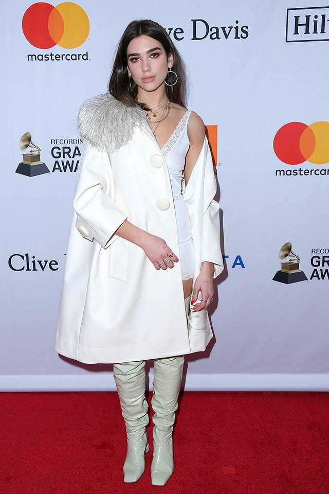 Dua Lipa at the Clive Davis and Recording Academy pre-Grammy gala in January 2018.
