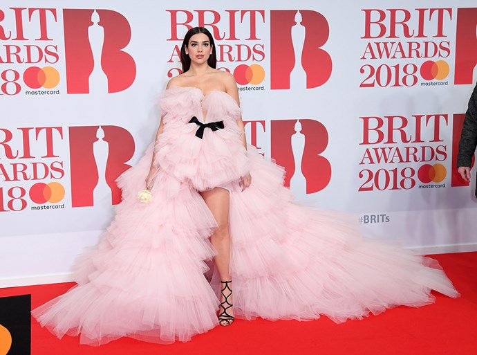 Dua Lipa at the Brit Awards in February 2018.