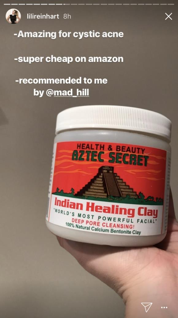 "Lili also shared her favourite product for treating her acne: [Aztec Secret Indian Healing Clay](https://www.amazon.com/Aztec-Secret-Cleansing-Original-Bentonite/dp/B0014P8L9W|target=""_blank"")."