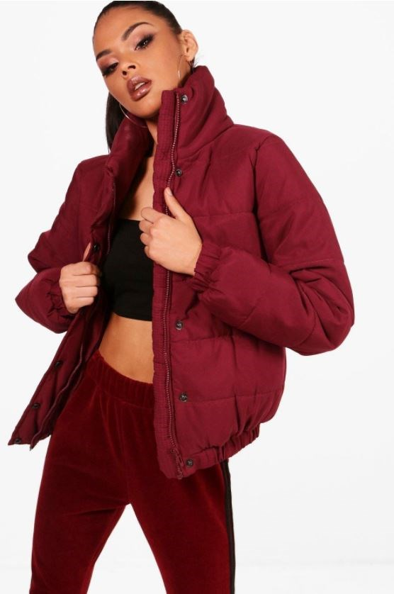 "Coat, $40 at [Boohoo](http://au.boohoo.com/karina-crop-funnel-neck-padded-jacket/DZZ28172.html?color=293|target=""_blank""