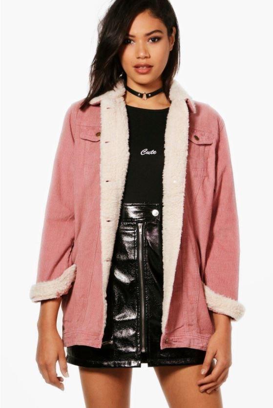 "Coat, $40 at [Boohoo](http://au.boohoo.com/amelia-borg-long-line-cord-jacket/DZZ51038.html|target=""_blank""|rel=""nofollow"")"