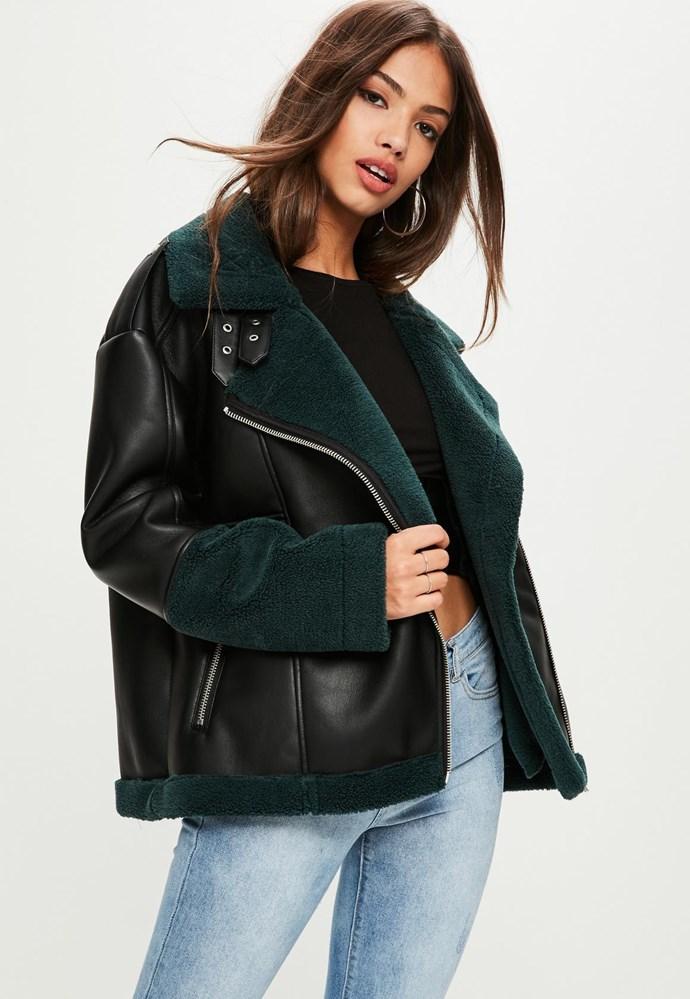 "Coat, $80 at [Missguided](https://www.missguidedau.com/black-colour-block-faux-shearling-aviator-jacket-10056259|target=""_blank""|rel=""nofollow"")"