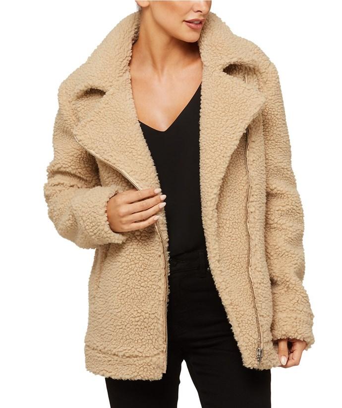 "Coat, $149.96 at [Sportsgirl](https://www.sportsgirl.com.au/clothing/jackets/teddy-aviator-jacket-natural|target=""_blank""|rel=""nofollow"")"