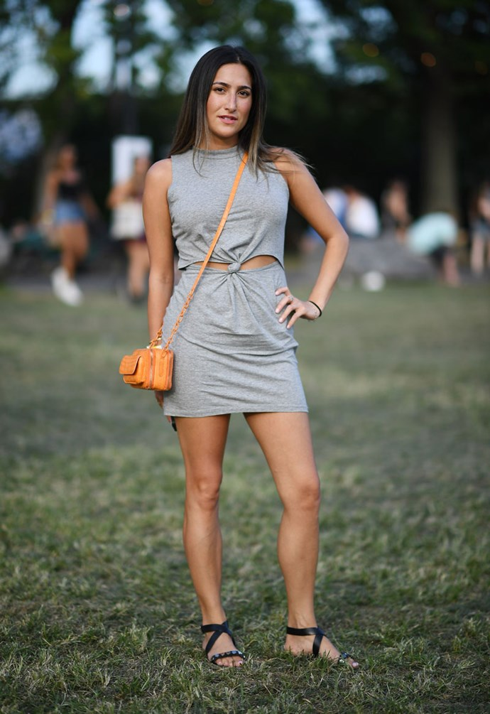 **Anything Grey** <br><br> Grey seems like a totally ace choice for a festival, until you start sweating like a mofo and it starts to soak through your clothing under the arms and around the bewbs.