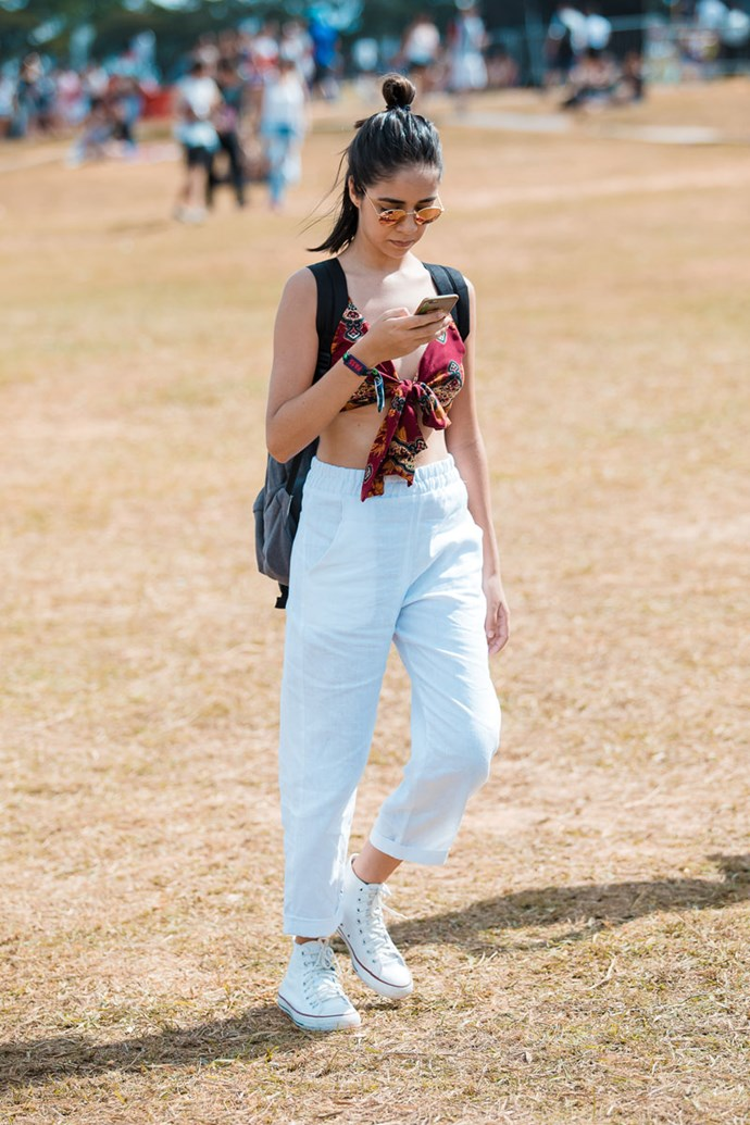 **White Sneakers** <br><br> As good as white sneakers are for literally any social occasion, they're gonna be the first thing to look grubby when you're bustin' a move in a big crowd of people. Save your sneaks and swap 'em out for gumboots.