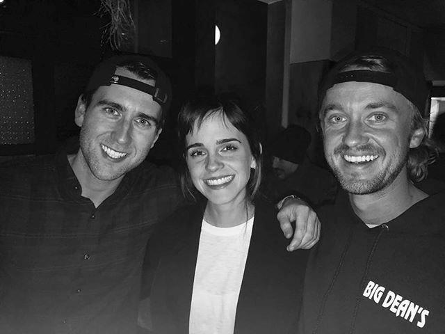 "**Harry Potter**<br> Matthew Lewis, Emma Watson and Tom Felton (AKA Neville Longbottom, Hermione Granger and Draco Malfoy) reunited this week, with Tom sharing the adorable picture and captioning it, ""School mates #hogwartsalumni."" Image: [@t22felton](https://www.instagram.com/t22felton/?hl=en