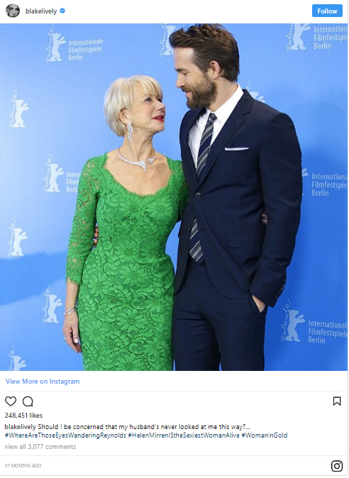 Blake suggested something might be going on with her husband and the very sexy Helen Mirren.