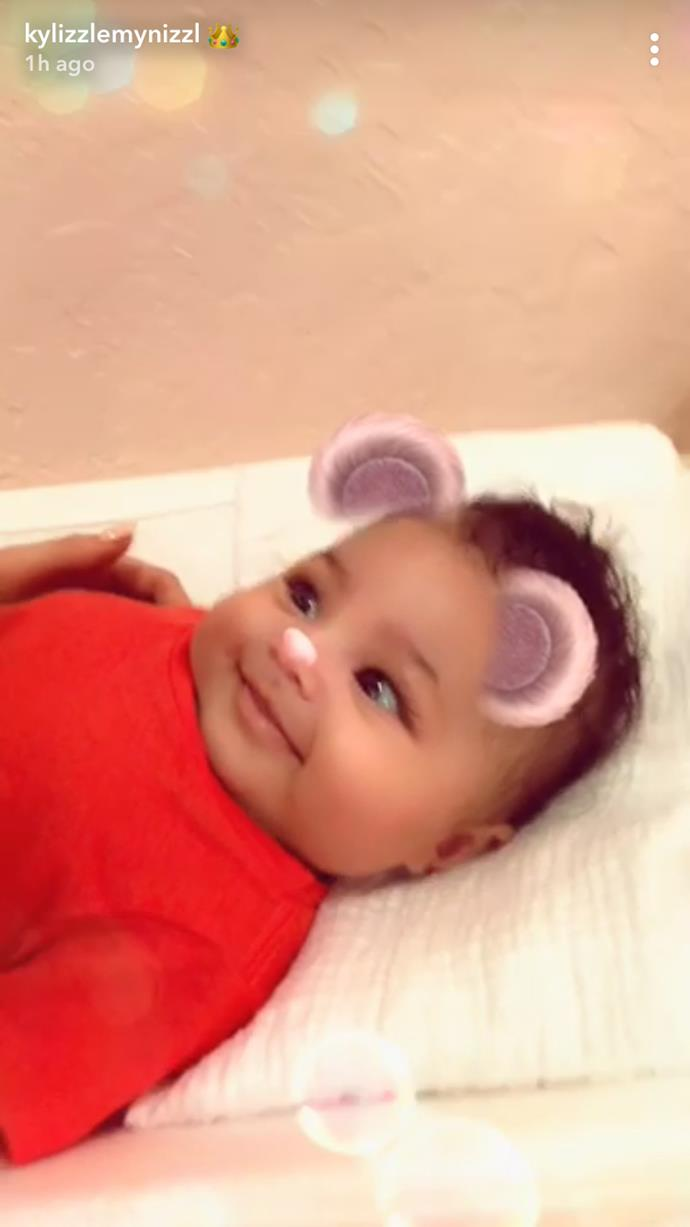 Stormi Webster on the changing table.