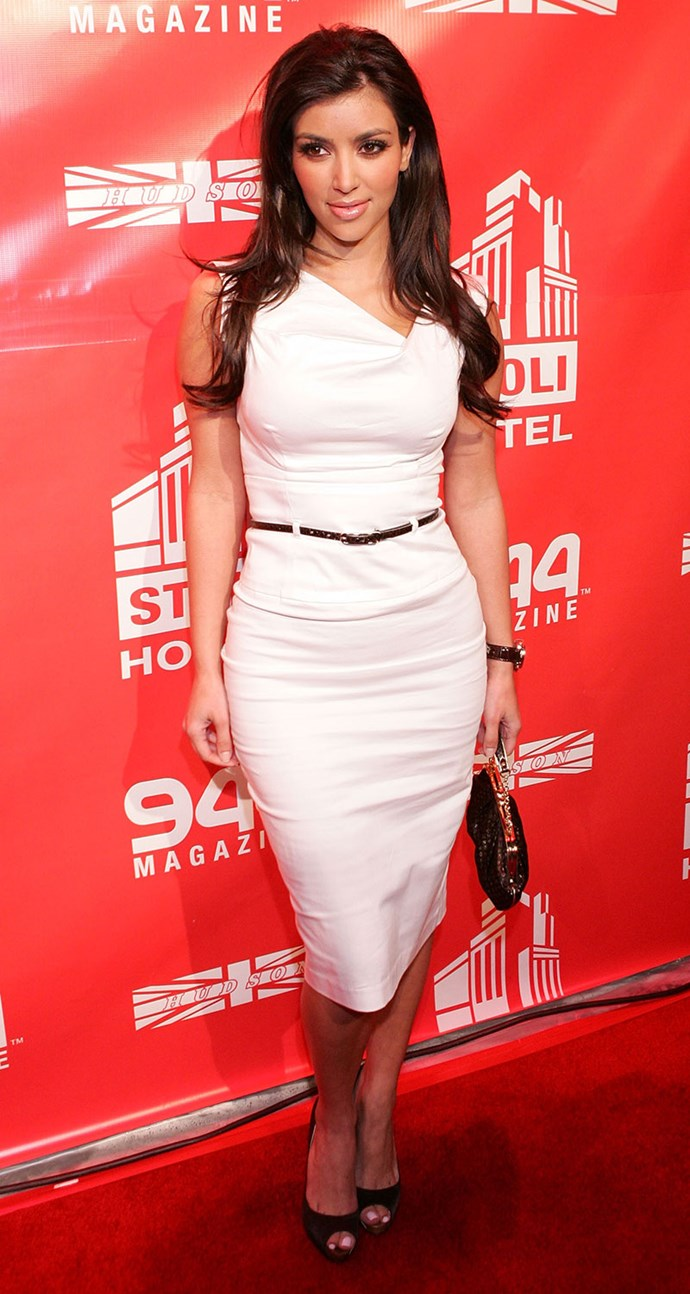 Aaaaaand here's Kim wearing the exact same dress in white at *944 Magazine*'s one-year anniversary event in 2007.