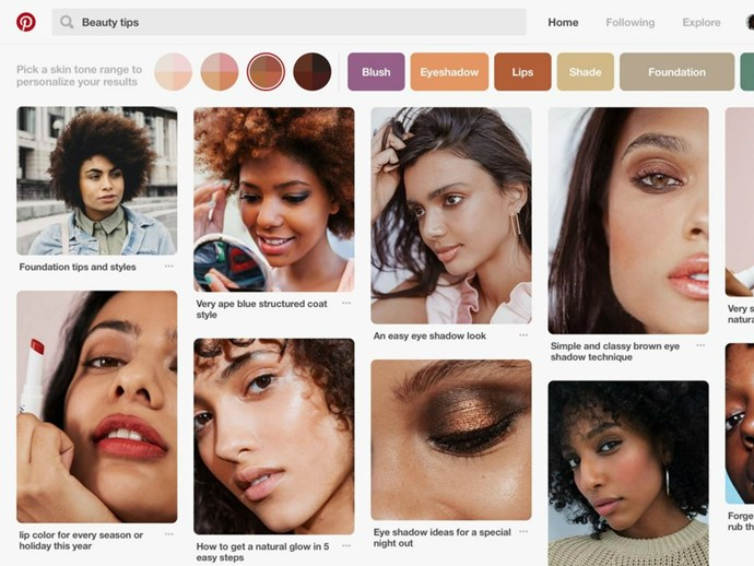 Pinterest has a new function that filters your beauty inspo by skin tone so you don't have to