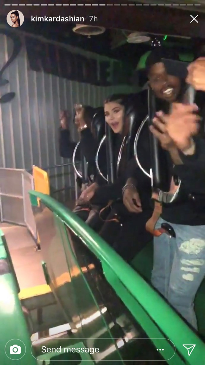 Kylie and Travis on a rollercoaster at Travis Scott's birthday party.